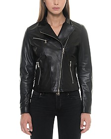 Asymmetrical Zip Black Leather Women's Jacket - Forzieri