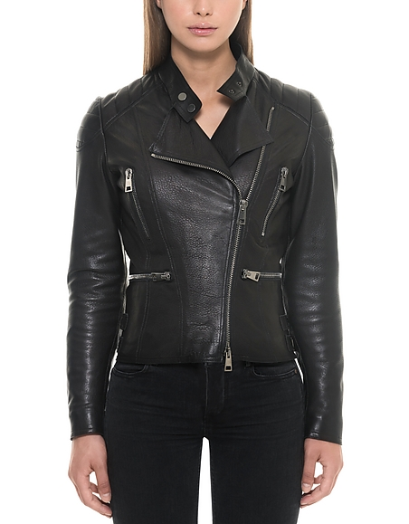 Forzieri Black Padded Leather Women's Biker Jacket