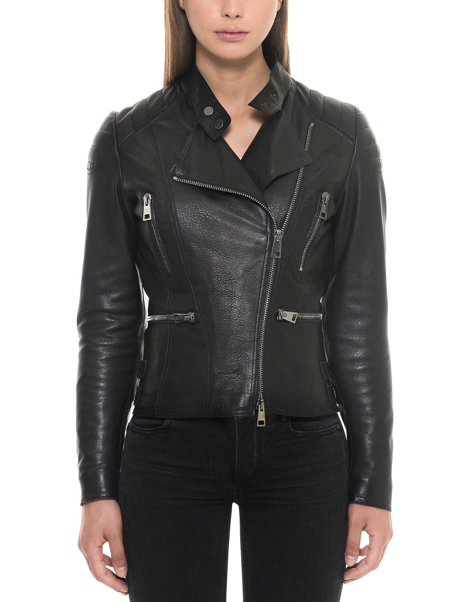 Forzieri Leather Jackets, Black Padded Leather Women's Biker Jacket