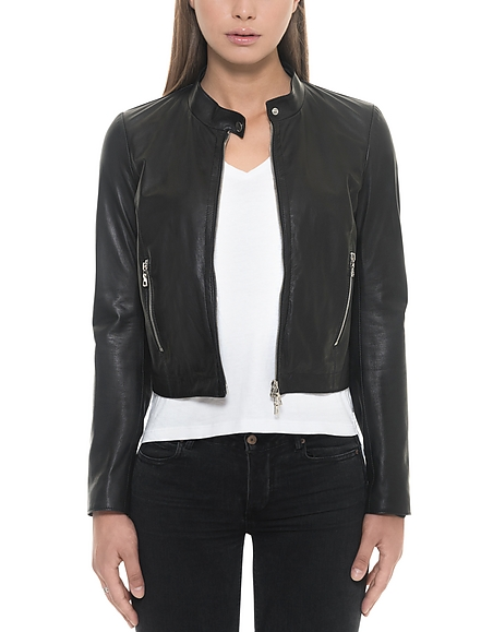 Forzieri Black Leather Womens Jacket