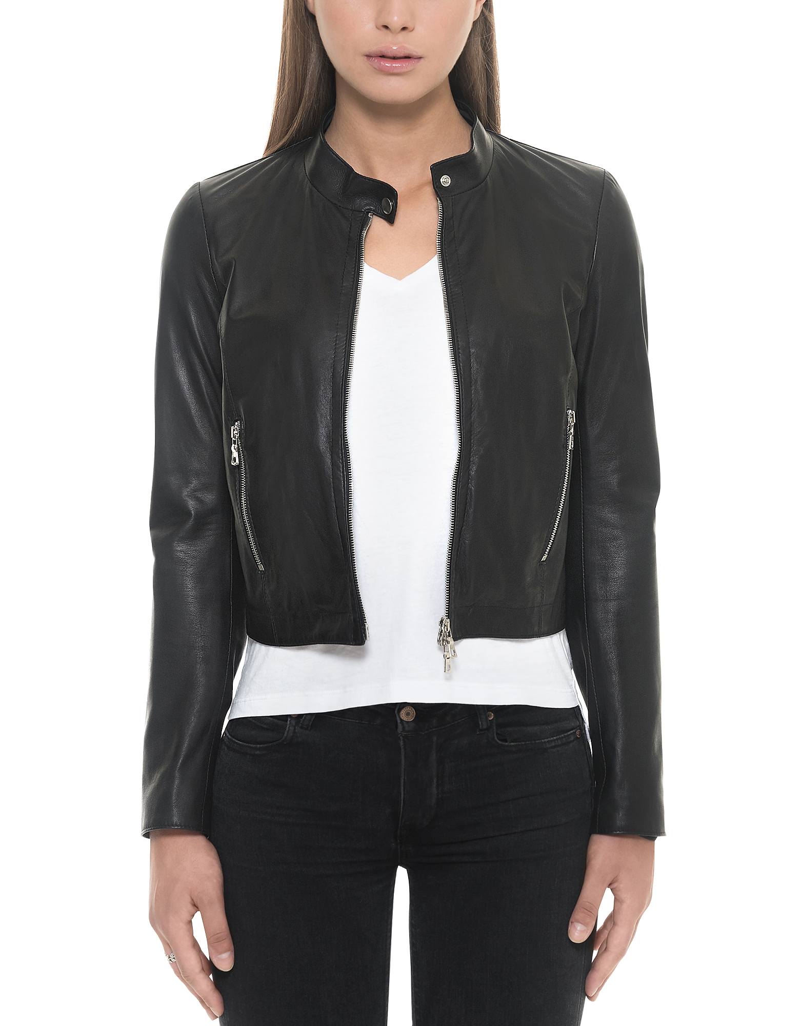 Forzieri Leather Jackets, Black Leather Women's Jacket