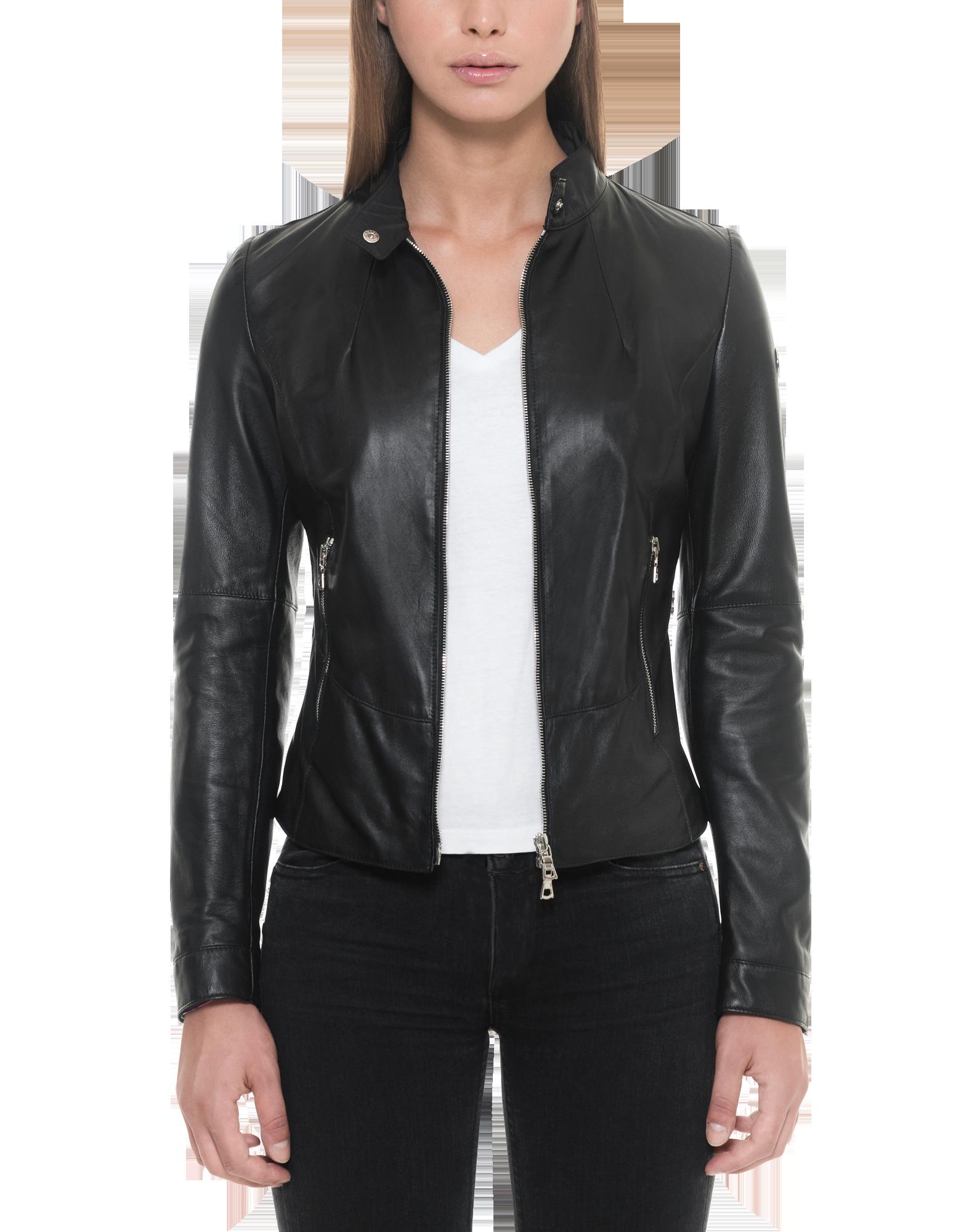 Image of Black Leather Women's Jacket w/Zip Pockets