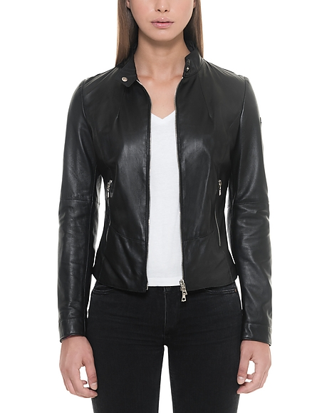 Forzieri Black Leather Womens Jacket w Zip Pockets