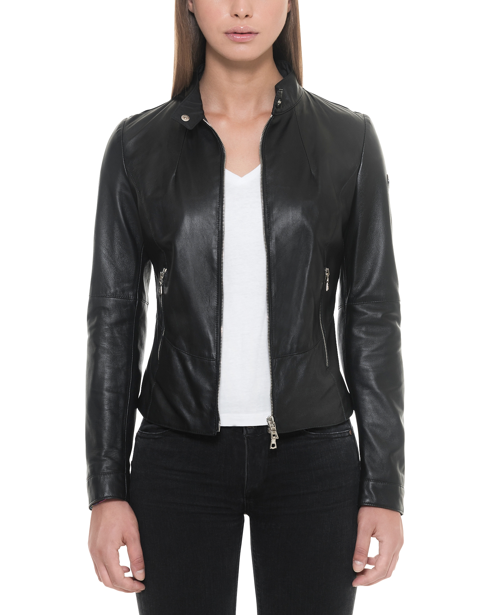 Black Leather Women's Jacket w/Zip Pockets
