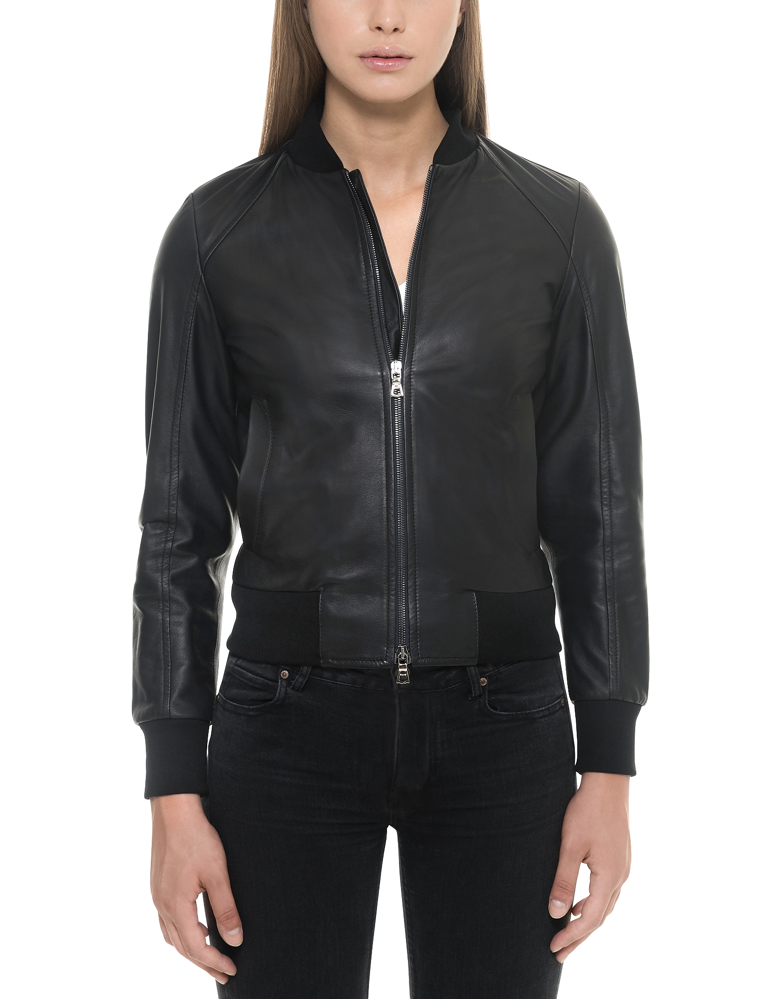 Black Leather Women's Bomber Jacket