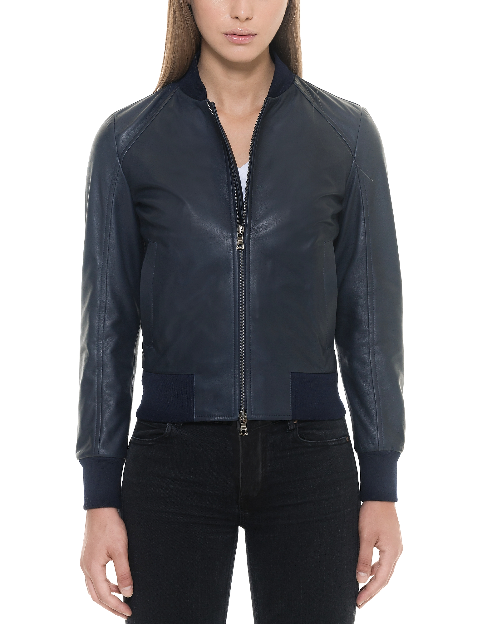 Forzieri Leather Jackets, Midnight Blue Leather Women's Bomber Jacket