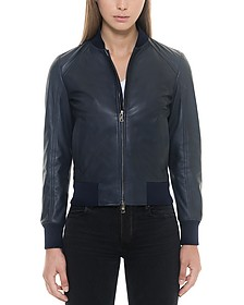 Midnight Blue Leather Women's Bomber Jacket - Forzieri