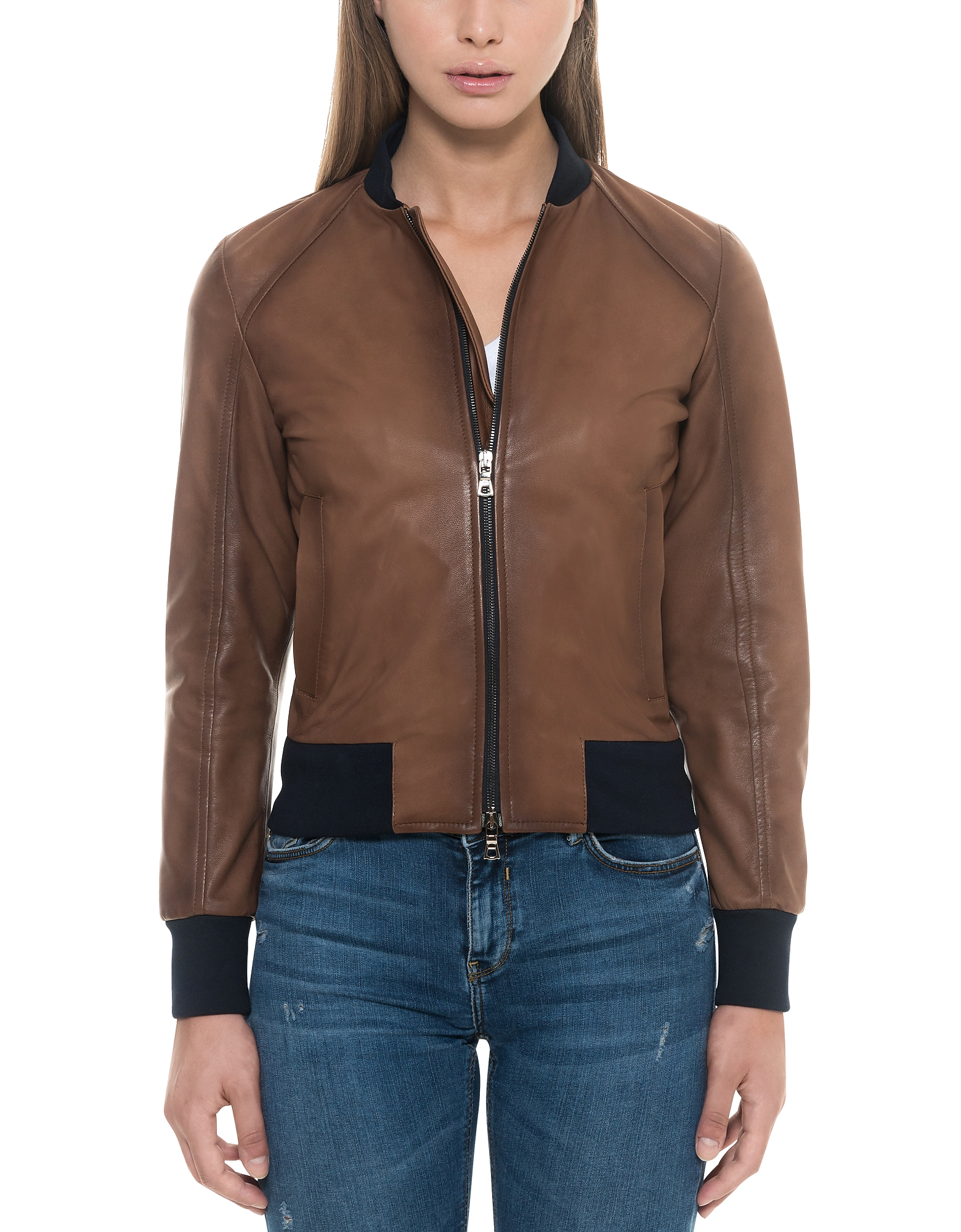 Forzieri Designer Leather Jackets, Brown Leather Women's Bomber Jacket