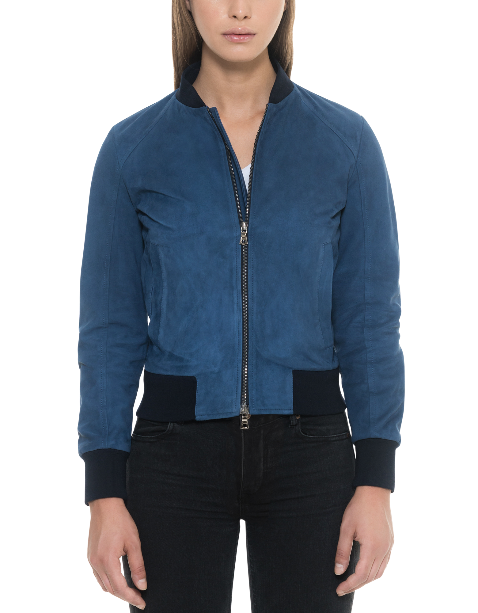 Image of Blue Suede Women's Bomber Jacket