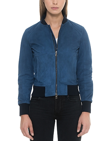 Forzieri - Blue Suede Women's Bomber Jacket