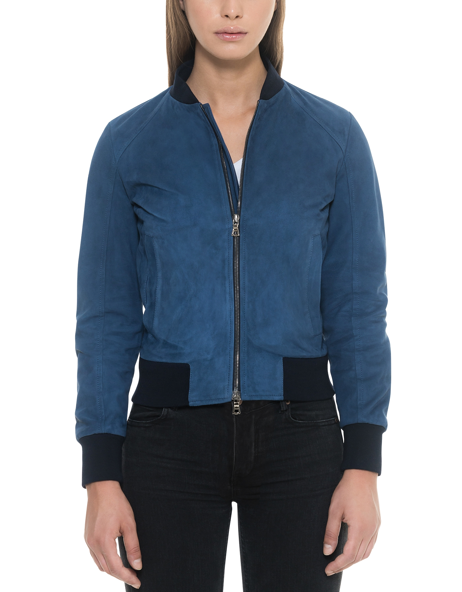 Forzieri Leather Jackets, Blue Suede Women's Bomber Jacket