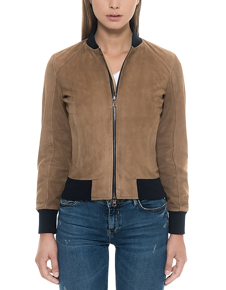 Forzieri Brown Suede Womens Bomber Jacket