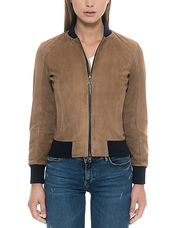 Forzieri - Brown Suede Women's Bomber Jacket