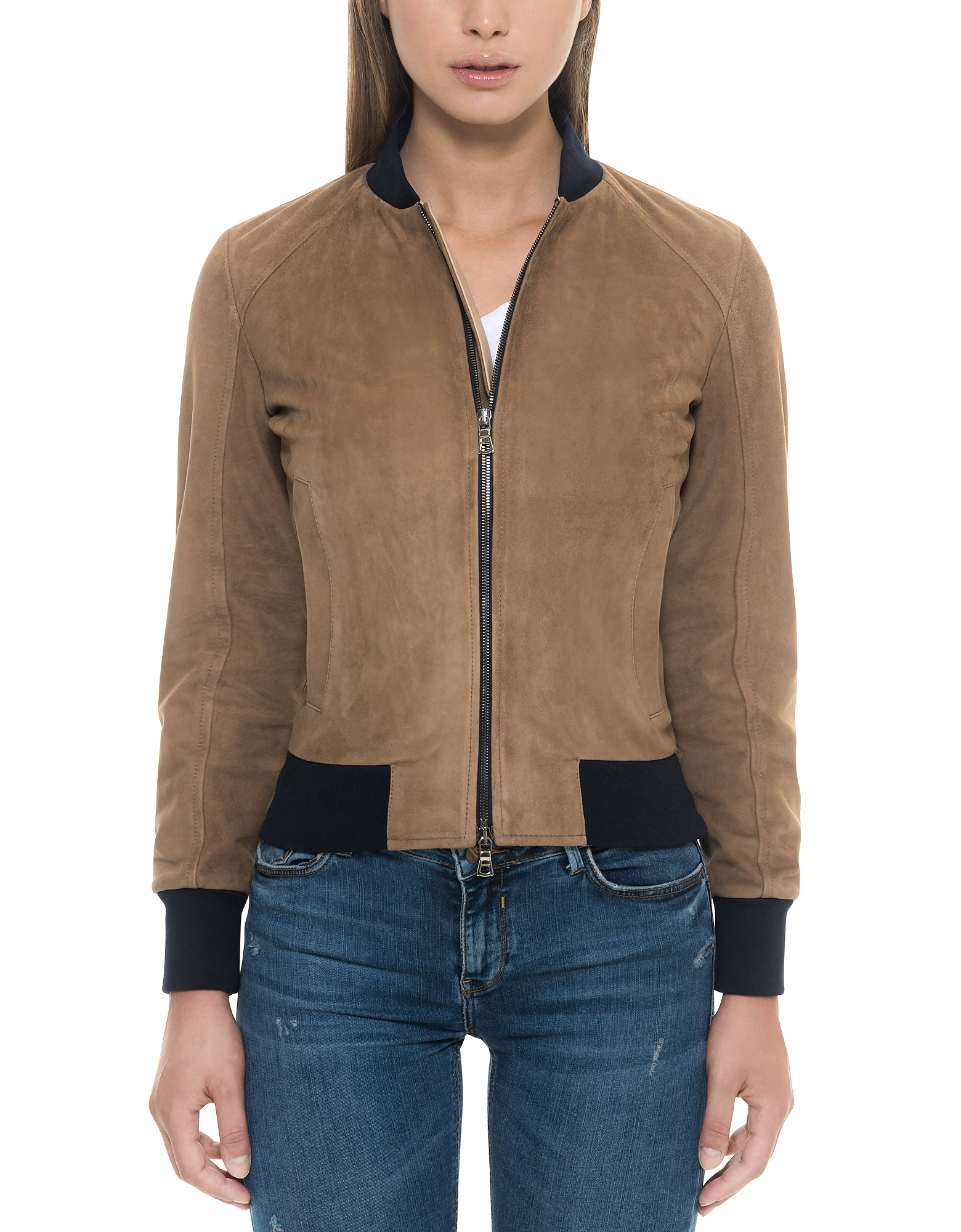 Forzieri Leather Jackets, Brown Suede Women's Bomber Jacket