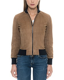 Brown Suede Women's Bomber Jacket - Forzieri
