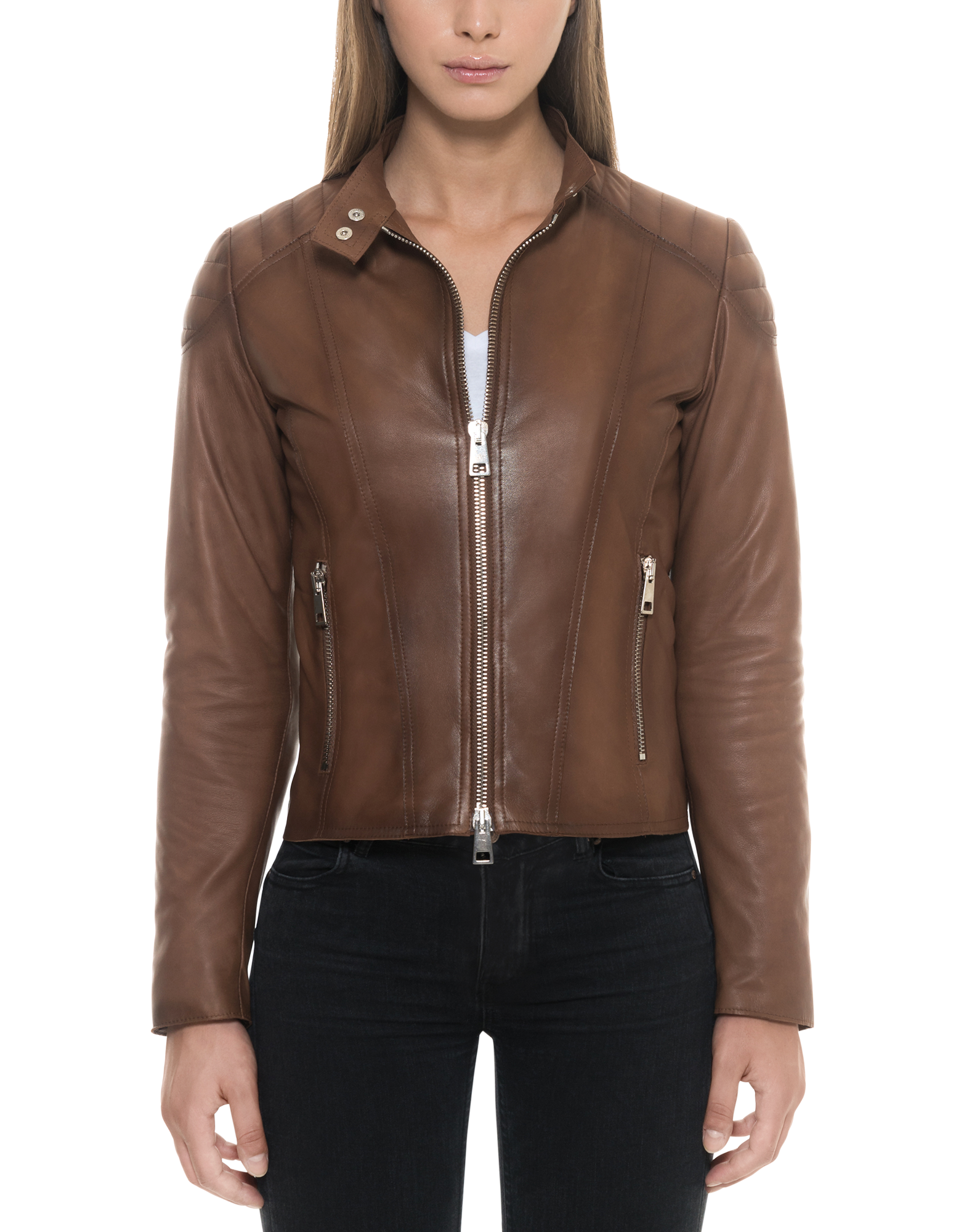 Image of Brown Padded Leather Women's Zip Front Jacket