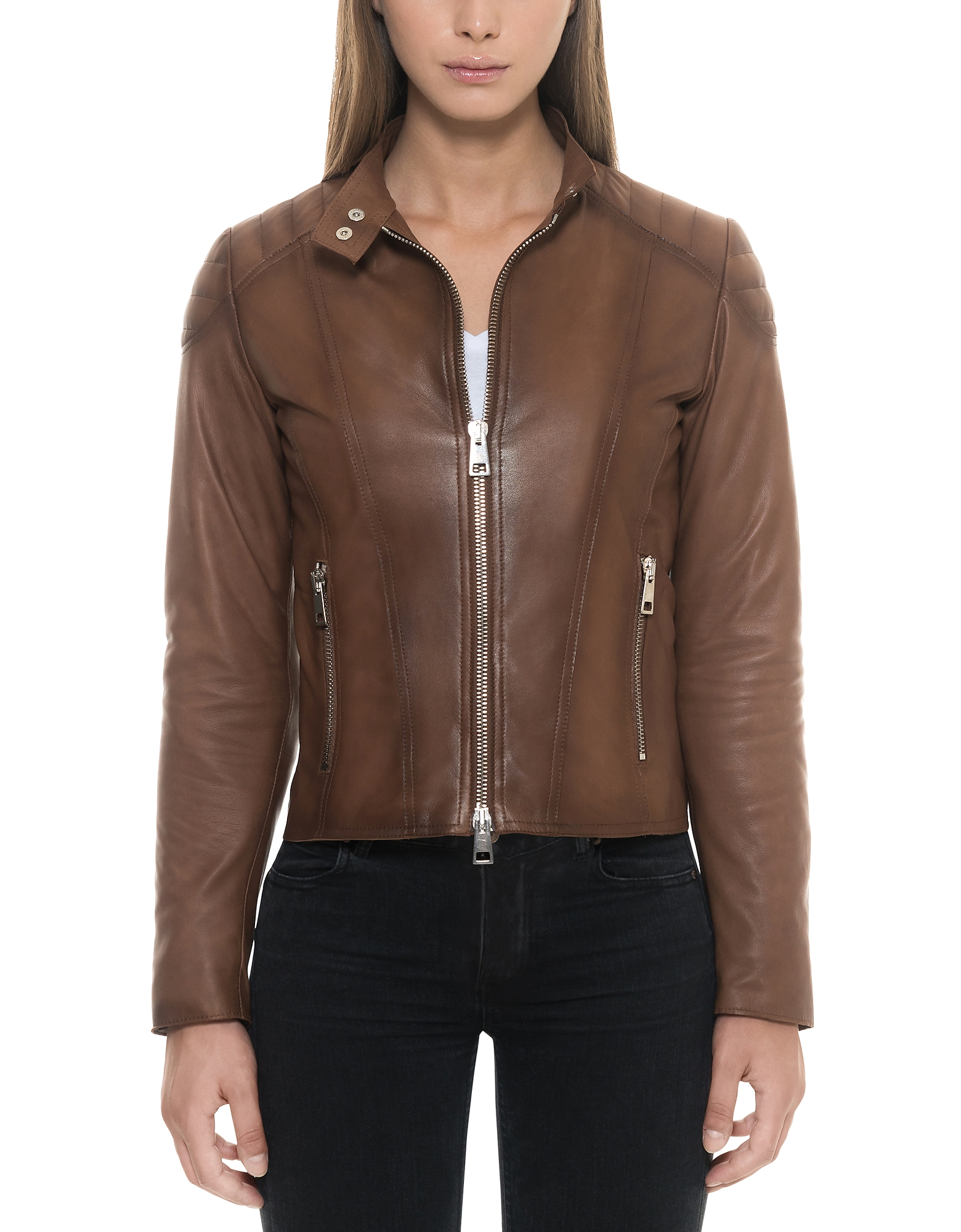 Forzieri Leather Jackets, Brown Padded Leather Women's Zip Front Jacket