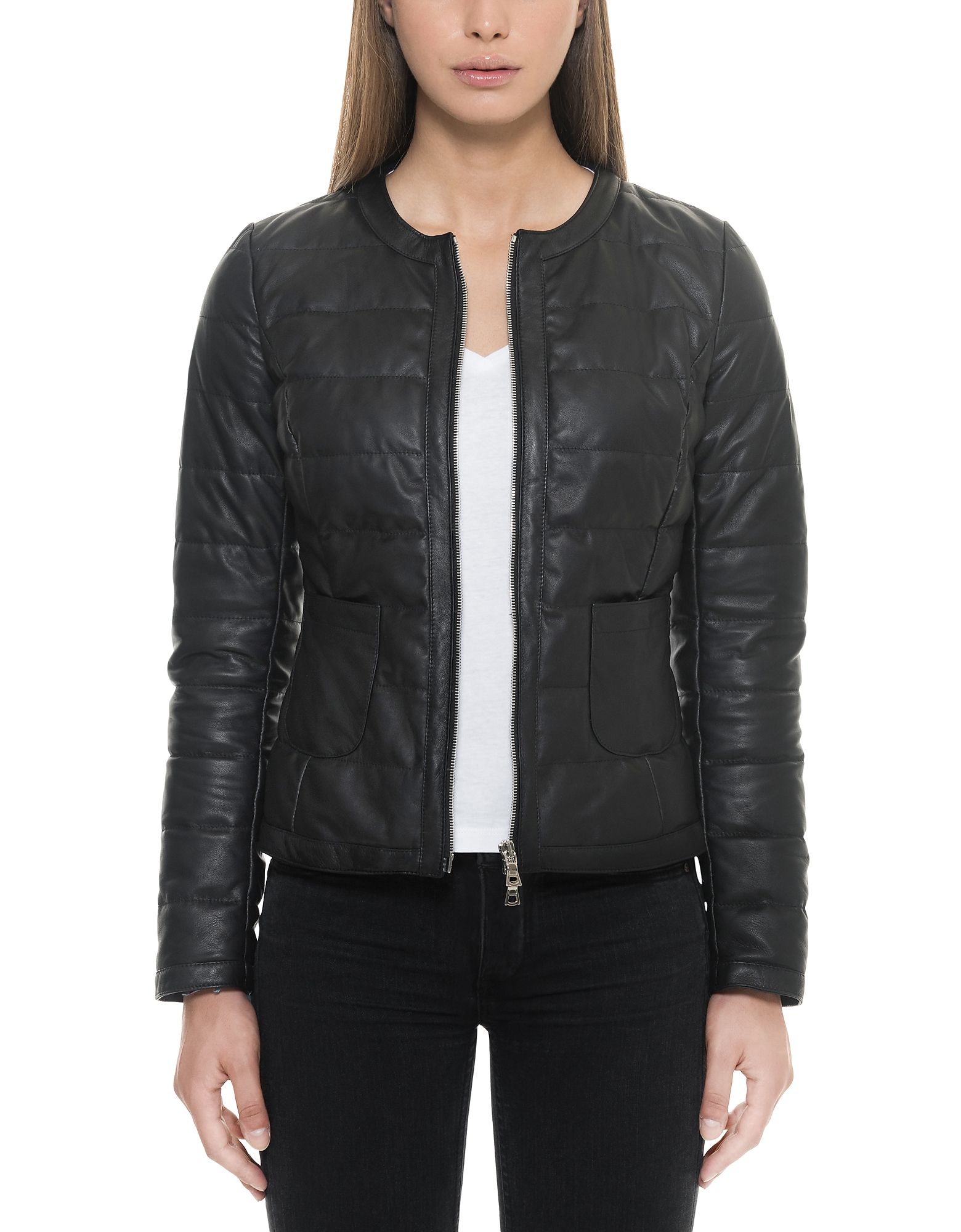 Forzieri Leather Jackets, Black Quilted Leather Women's Jacket