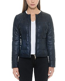 Dark Blue Quilted Leather Women's Jacket - Forzieri