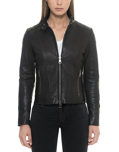Forzieri Black Padded Leather Women's Zippered Jacket