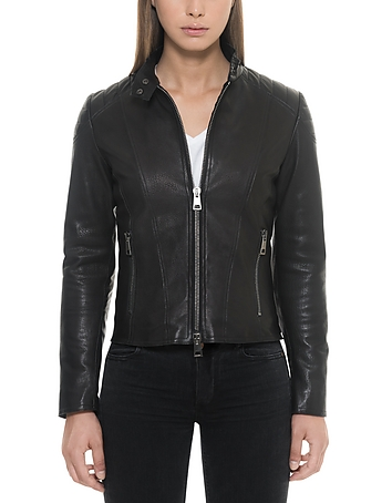 Forzieri - Black Padded Leather Women's Zippered Jacket