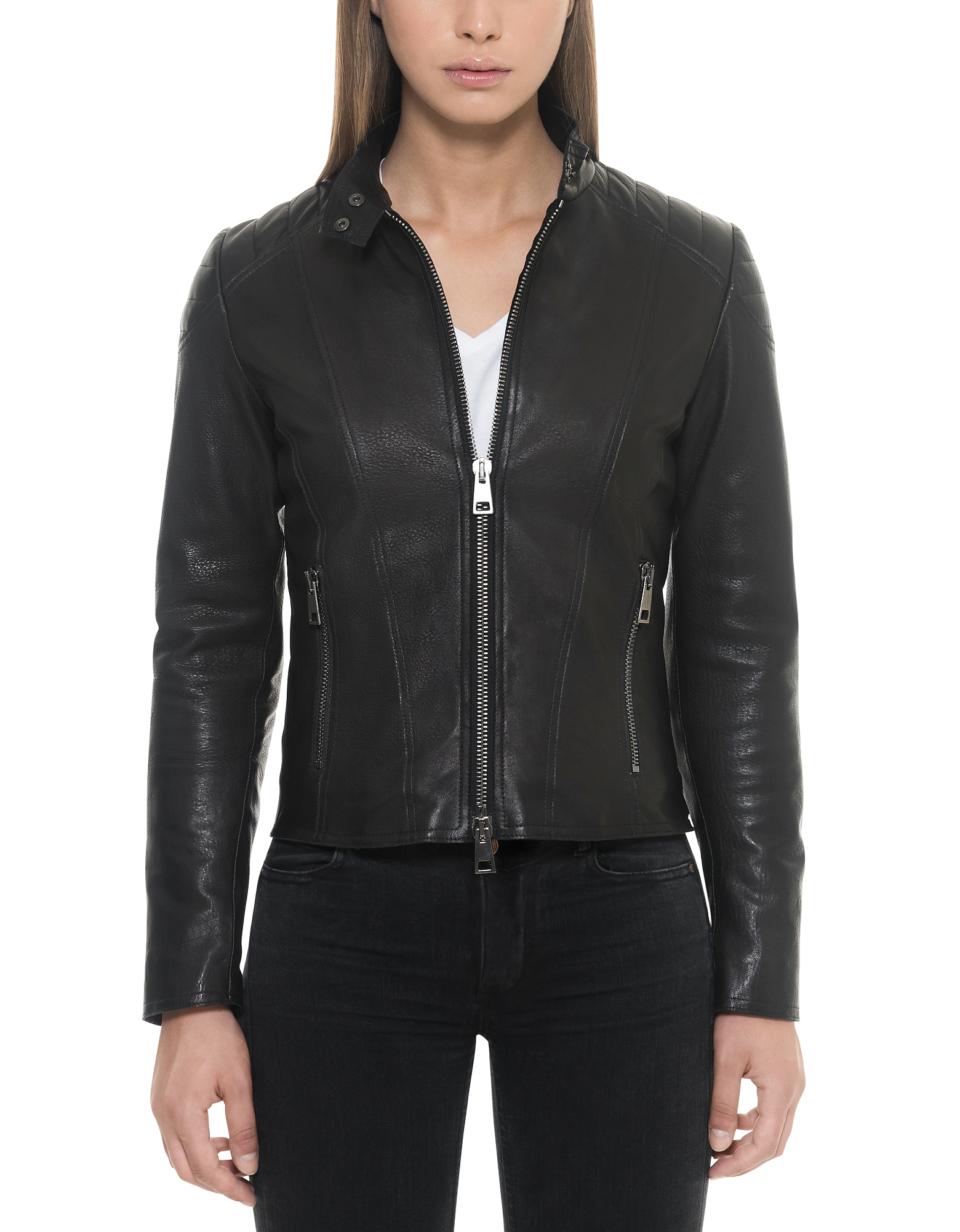 Forzieri Leather Jackets, Black Padded Leather Women's Zippered Jacket