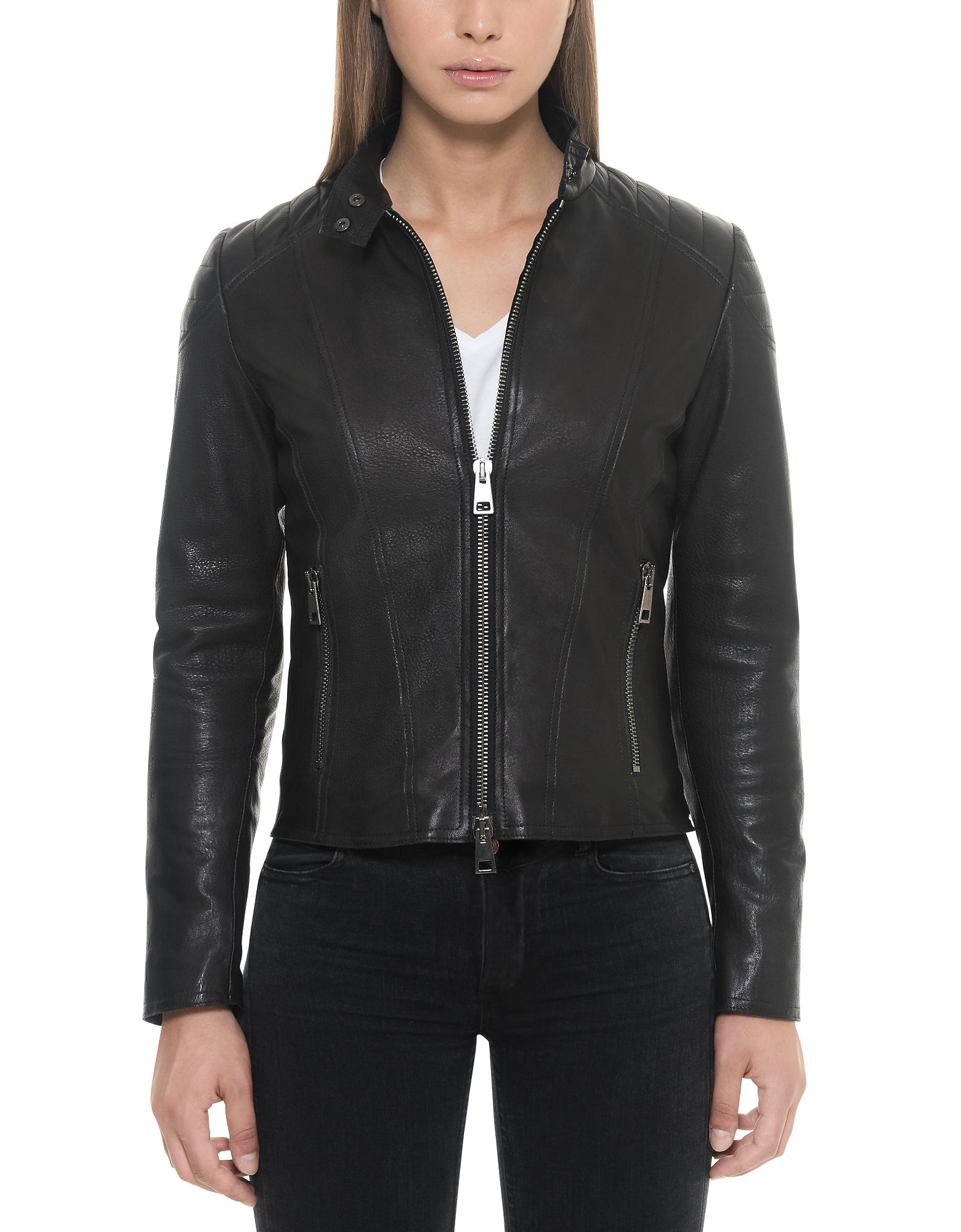 Фото Черная Женская Кожаная Куртка с Застежкой-Молнией на Подкладке. Купить с доставкой