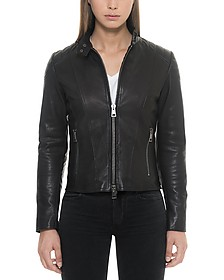 Black Padded Leather Women's Zippered Jacket - Forzieri
