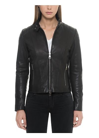 Black Padded Leather Women's Zippered Jacket - Forzieri
