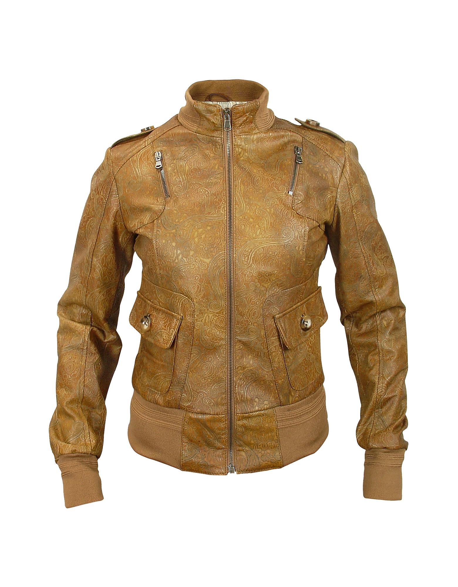Forzieri Женская Куртка из Натуральной Кожи с Принтом Пейсли