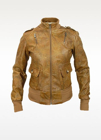 Women's Brown Paisley Stamped Genuine Leather Jacket - Forzieri