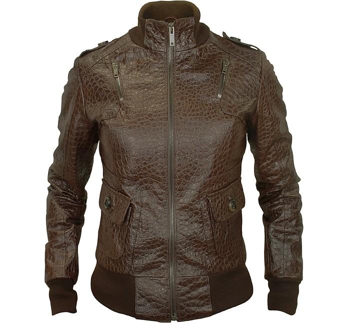 Signature - Women's Dark Brown Croco Stamped Genuine Leather Jacket - Forzieri