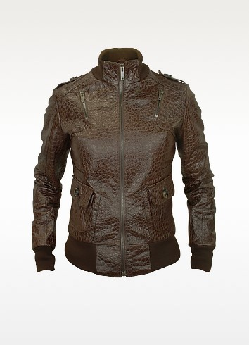 Women's Dark Brown Croco Stamped Genuine Leather Jacket - Forzieri
