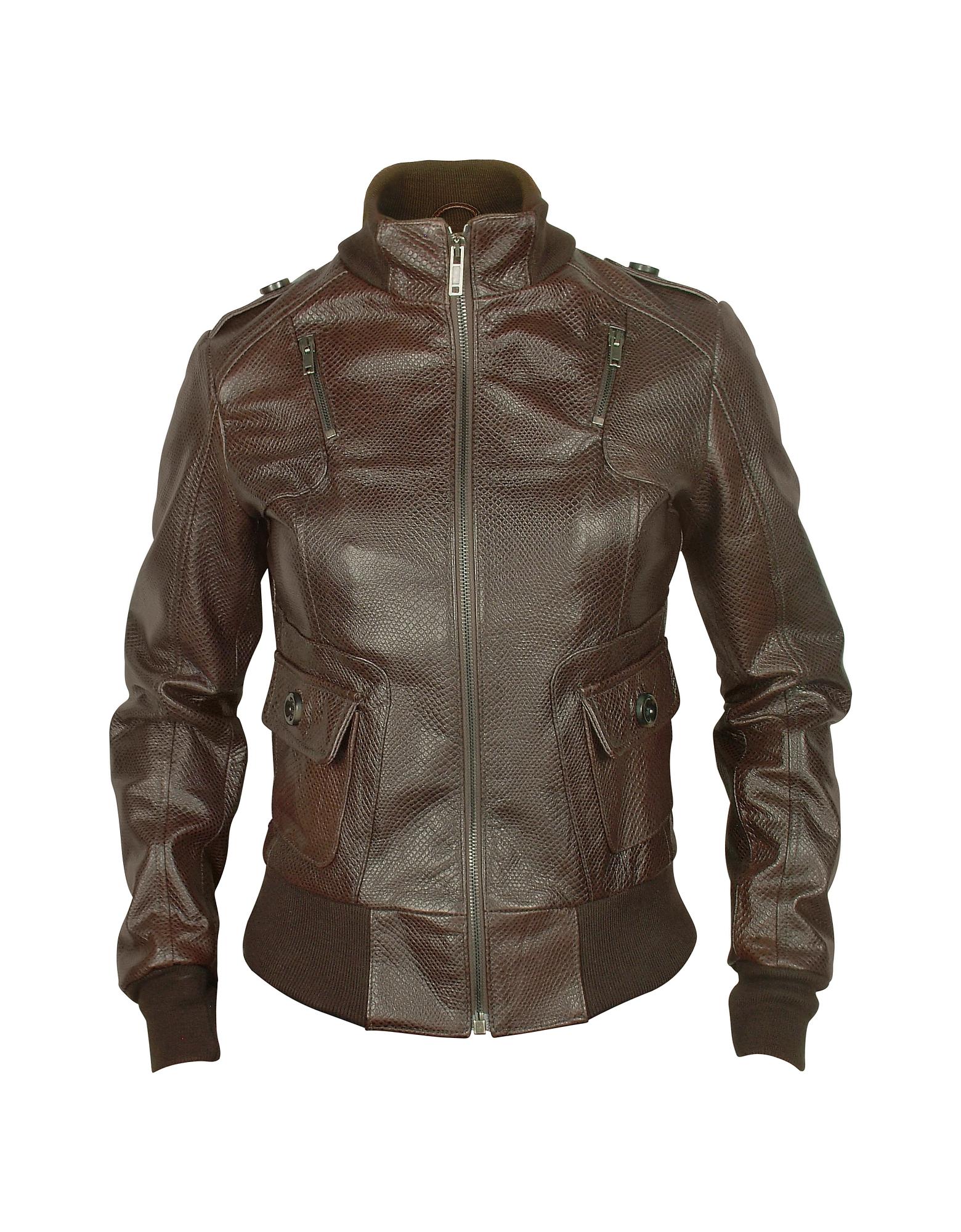 Темно-коричневая Женская Куртка из Натуральной Кожи с Принтом под Ящерицу