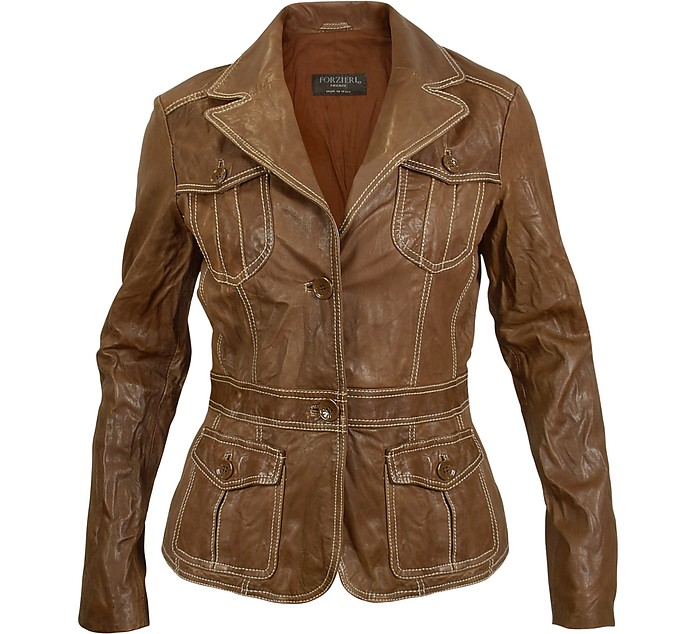 Washed Brown Leather Two-Button Jacket - Forzieri