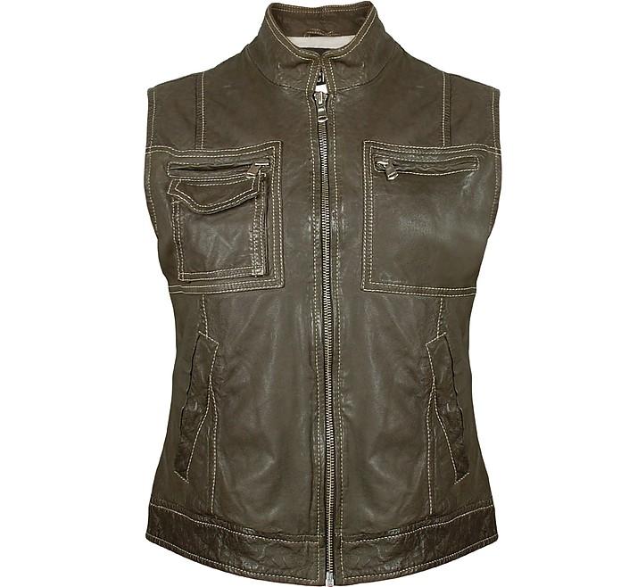 Women's Dark Green Washed Leather Vest - Forzieri