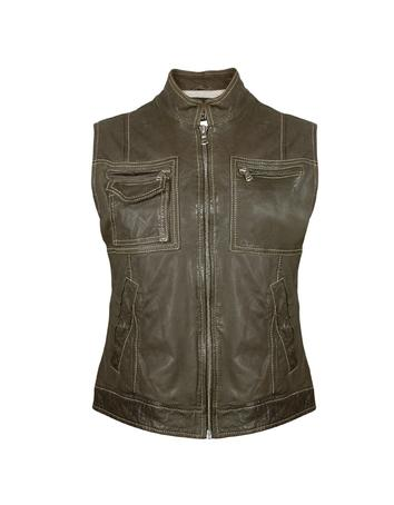 Lux-ID 210453 Women's Dark Green Washed Leather Vest
