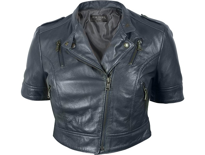 Blue Motorcycle Cropped Leather Jacket - Forzieri