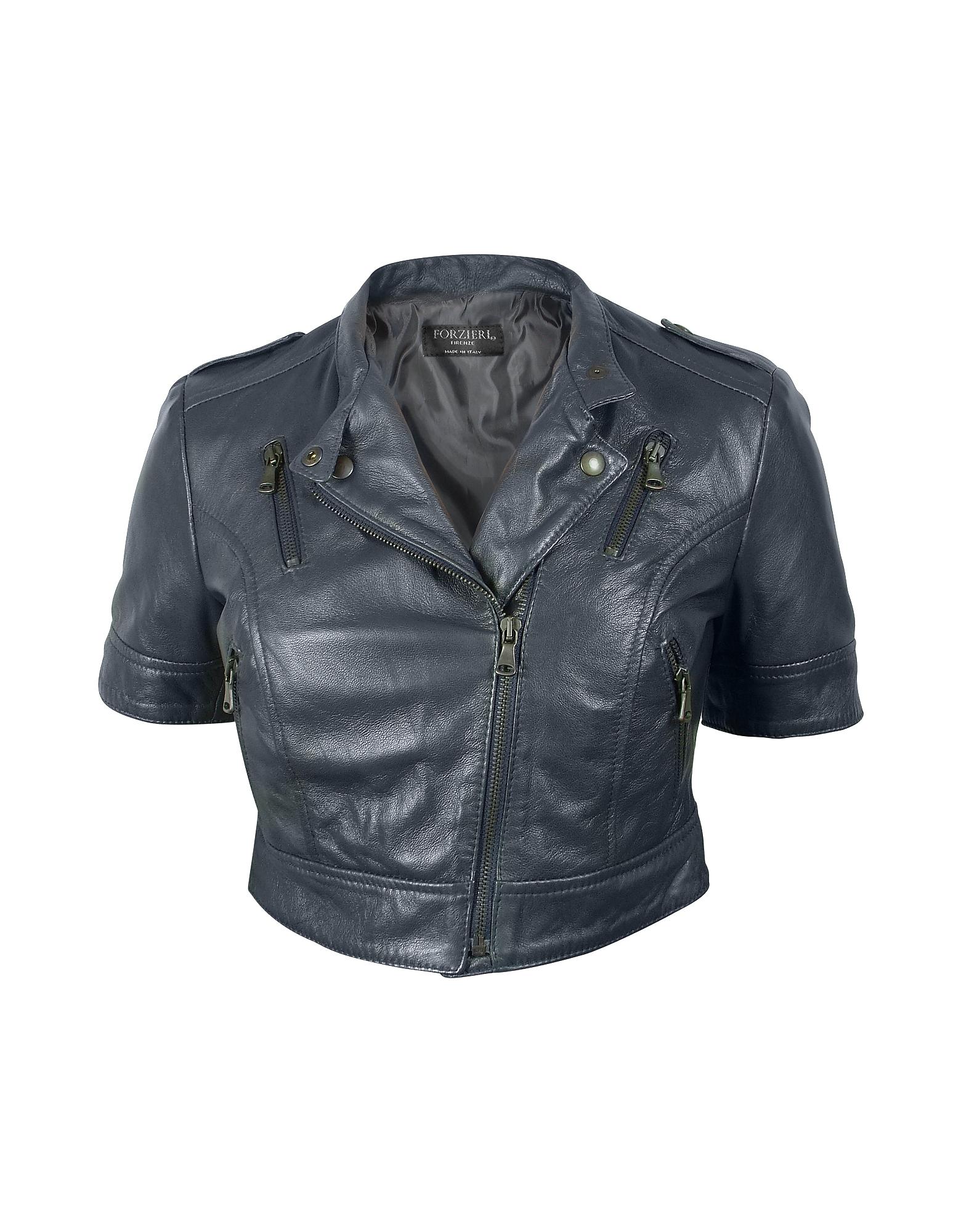 Синяя Укороченная Куртка в Мото Стиле