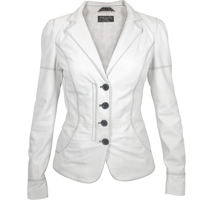 White Soft Calf Leather Button Jacket - Forzieri