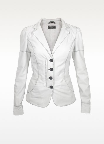 White Soft Calf Leather Button Jacket - Forzieri