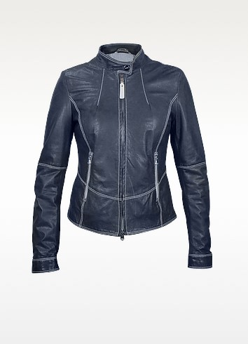 Blue Motorcycle Leather Jacket - Forzieri