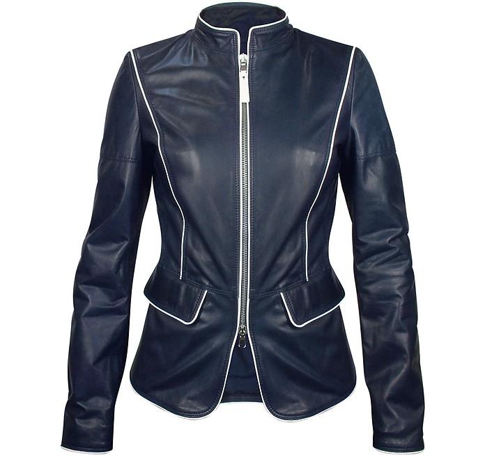 Navy Blue Calf Leather Zip Jacket - Forzieri
