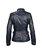 Navy Blue Calf Leather Zip Jacket - Forzieri