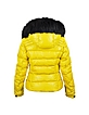 Yellow Leather Puffer Jacket w/Detachable Fur Hood  - Forzieri