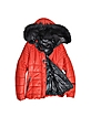 Red Leather Puffer w/Detachable Fur Hood  - Forzieri