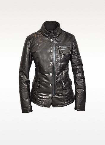 Black Multi-Pocket Leather Zip Jacket  - Forzieri