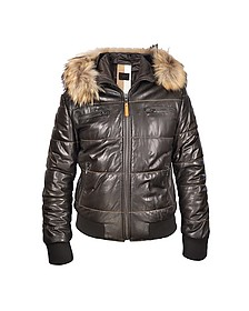 Brown Fur-trim Bomber Jacket - Forzieri