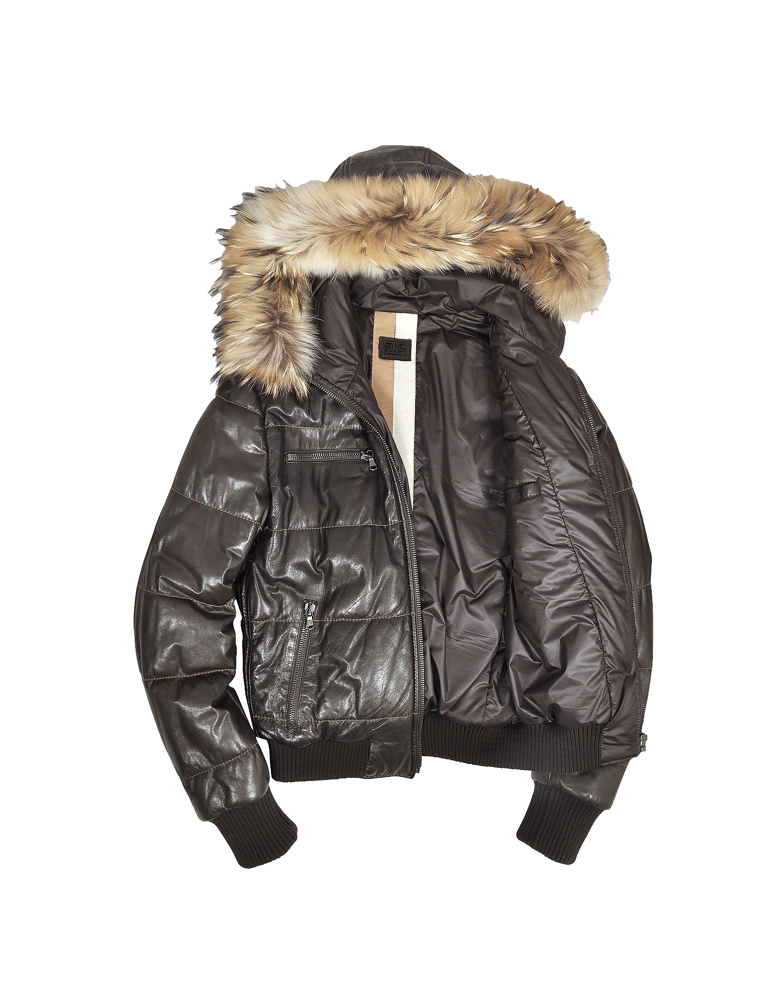 Brown Fur-trim Bomber Jacket от Forzieri.com INT