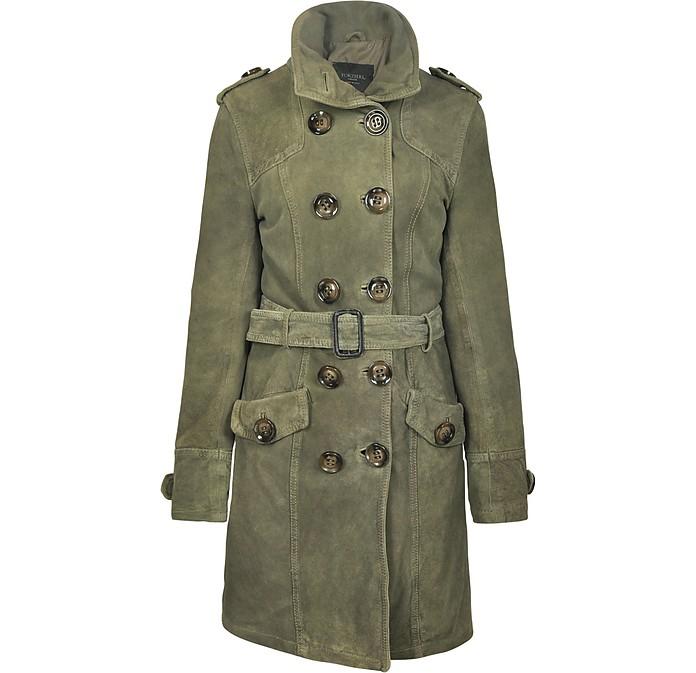 Long Green Suede Jacket w/Belt - Forzieri